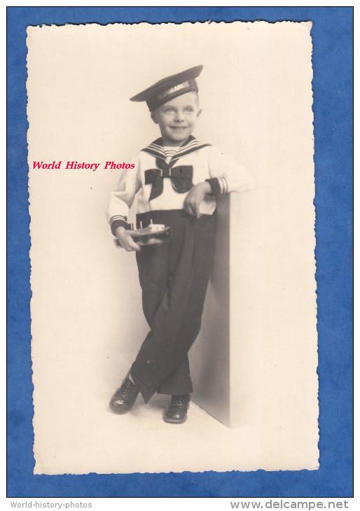 2 CPA Photos - Enfant Avec Mariniére & Maquette Du Paquebot NORMANDIE - 1937 - Boy Kid Costume Boat Ship Portrait - Paquebots