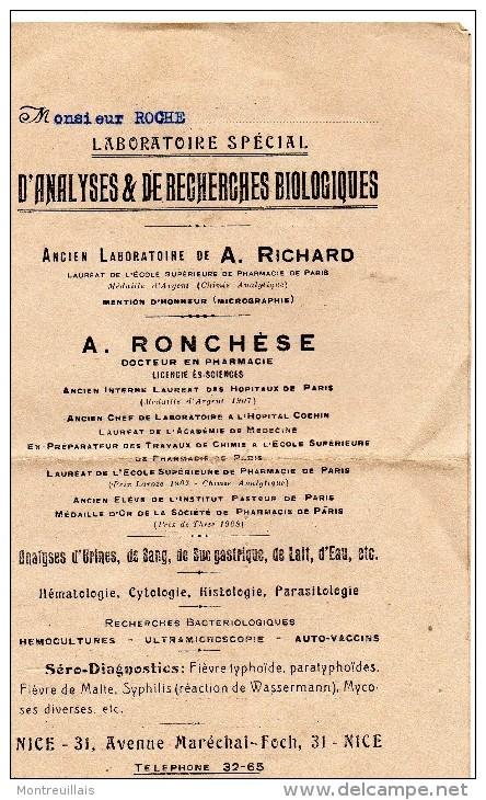 Document, 2 Volets,  Laboratoire D'analyse De Recherches Biologiques, RONCHESE à NICE, De 1931 - Australie