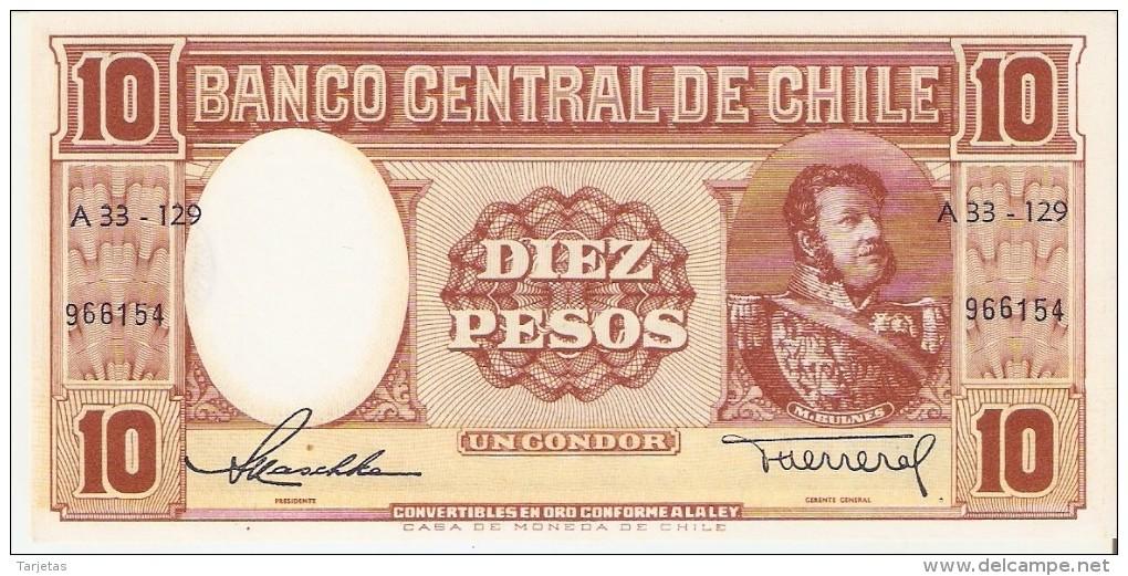 BILLETE DE CHILE DE 10 PESOS DEL AÑO 1958 (BANKNOTE) NUMEROS PEQUEÑOS SIN CIRCULAR-UNCIRCULATED - Chile
