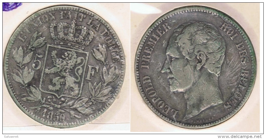 BELGICA BELGIQUE 5  FRANCS 1850 PLATA SILVER Y - 11. 5 Francos