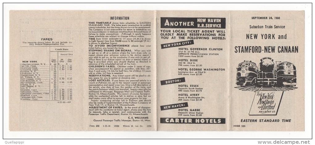 "02329 ""NEW YORK AND STAMFORD-NEW CANAAN - SUBURBAN TRAIN SERVICE 1950"" ORARI - World"
