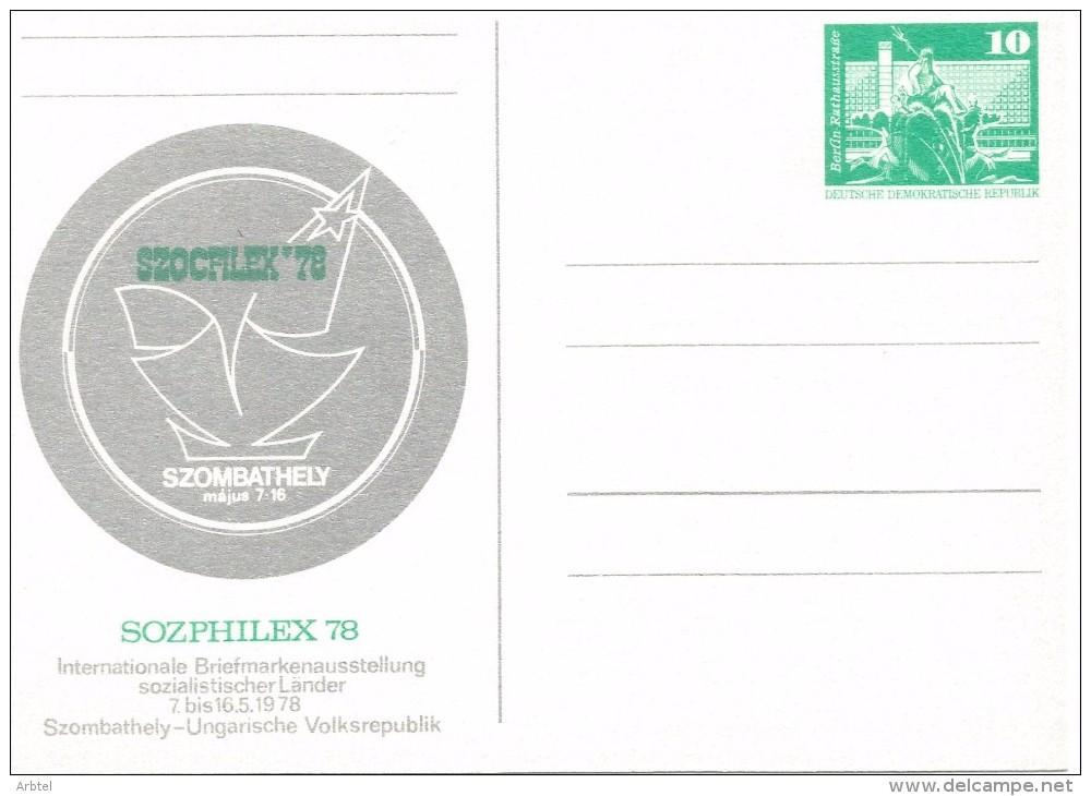 ALEMANIA DDR ENTERO POSTAL SOZPHILEX 78 - [6] República Democrática