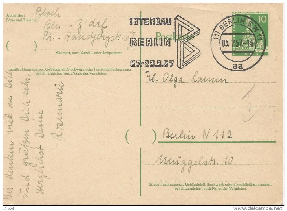 ALEMANIA DDR ENTERO POSTAL MAT INTERBAU BERLIN 1957 - [6] República Democrática