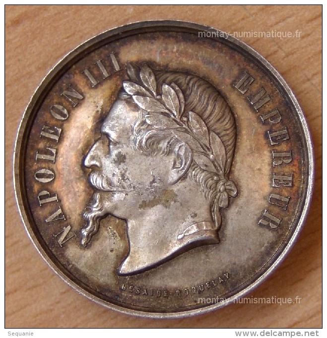 Médaille Napoléon III Argent Comice Agricole De Mayenne 1863 - Professionnels / De Société