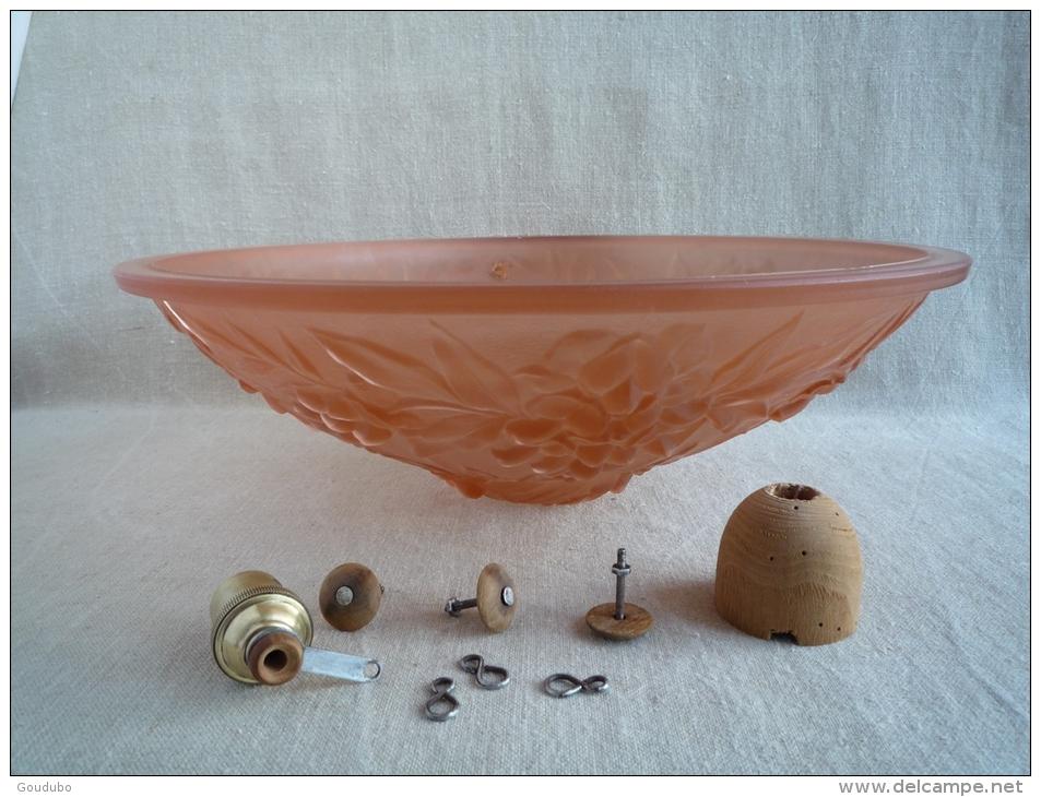 Lamps - Lustre plafonnier vasque à suspension verre saumon années ...