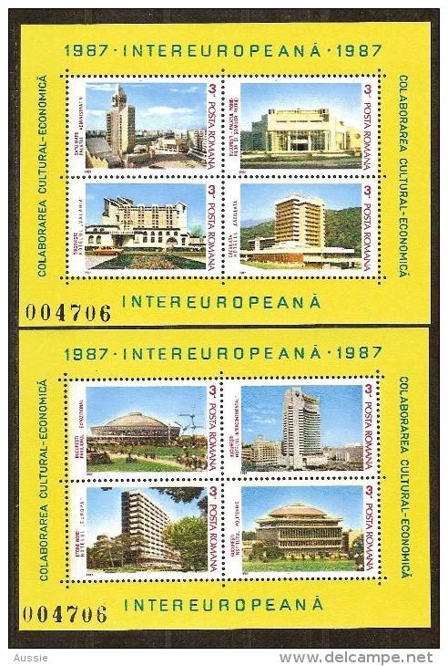 Europa Roemenie Roumanie 1987 Yvertnr. Bloc 187-88 *** MNH Cote 17,00 Euro Batiments - Hojas Bloque