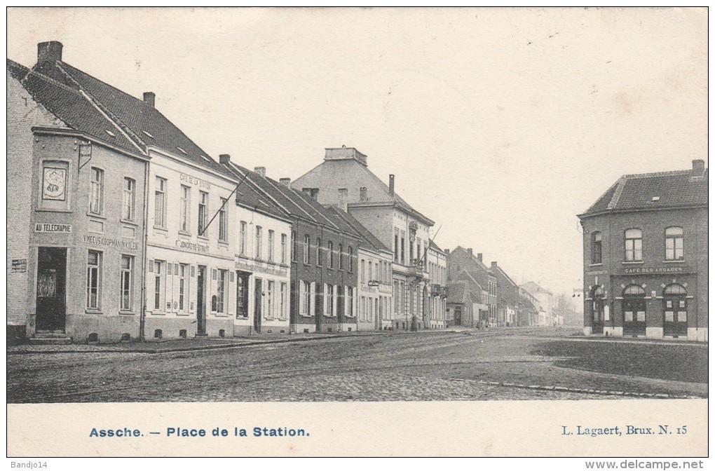 Assche - Place De La Station   - Scan Recto-verso - Asse