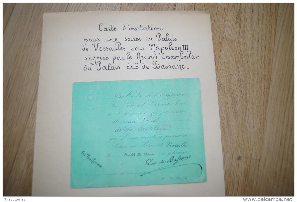 H36 Carton Invitation Napoléon III Autographe Duc De Bassano Empire Versailles Napoléon Maret Secrétaire D'état - Postmark Collection (Covers)