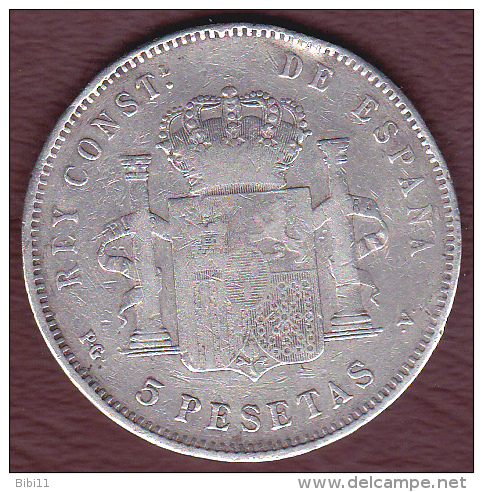 ESPAGNE .5 PESETAS 1896 S.G.V. . ALFONSO XIII. ARGENT - [ 1] …-1931 : Royaume