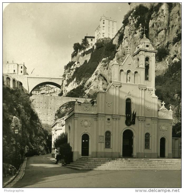 France Cote D'Azur Monaco Eglise Ste Devote Ancienne Photo Stereoscope NPG 1900 - Stereoscopic