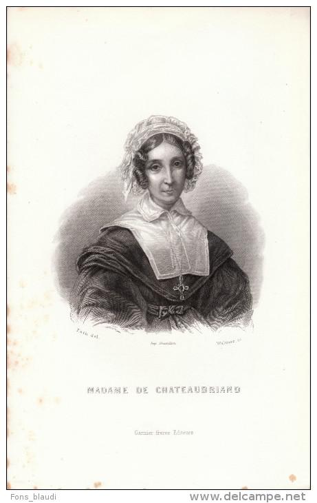 Portrait De Céleste De Châteaubriand - Gravure Sur Acier Vers 1850 - FRANCO DE PORT - Estampes & Gravures