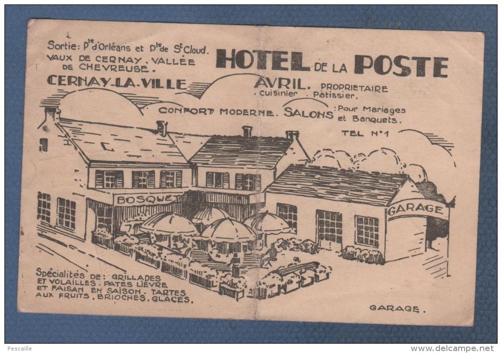 78 YVELINES - CARTE COMMERCIALE AVEC PLAN HOTEL DE LA POSTE / RESTAURANT AVRIL A CERNAY LA VILLE - Cartoncini Da Visita