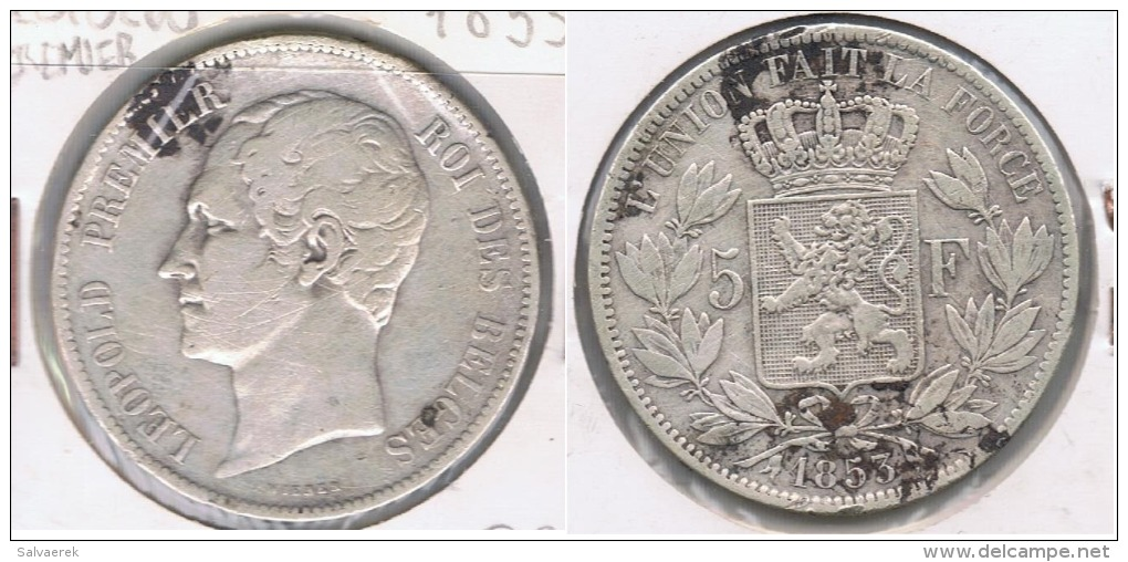 BELGICA BELGIQUE 5 FRANCS 1853 PLATA SILVER X - 11. 5 Francos