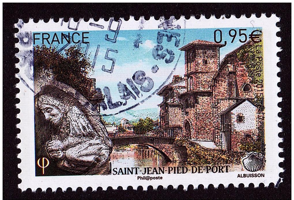 """SAINT JEAN PIED DE PORT Issu Du Bloct """"LES CHEMINS DE ST JACQUES DE COMPOSTELLE"""" Cachet Rond - Used Stamps"""