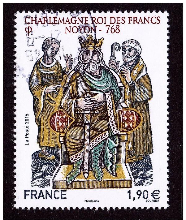 """CHARLEMAGNE ROI DES FRANCS NOYON 768 Issu Du Bloc """"HISTOIRE DE FRANCE"""" Cachet Rond - France"""