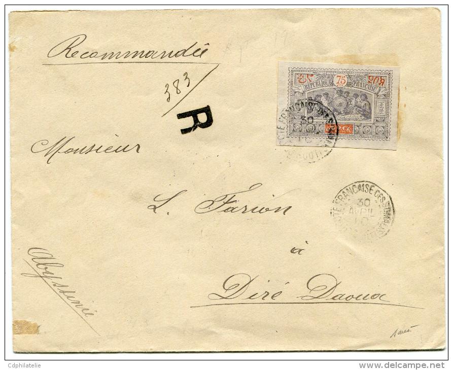 COTE FRANCAISE DES SOMALIS LETTRE RECOMMANDEE DEPART OBOCK 30 AVRIL 1901 POUR L'ABYSSINIE - Côte Française Des Somalis (1894-1967)