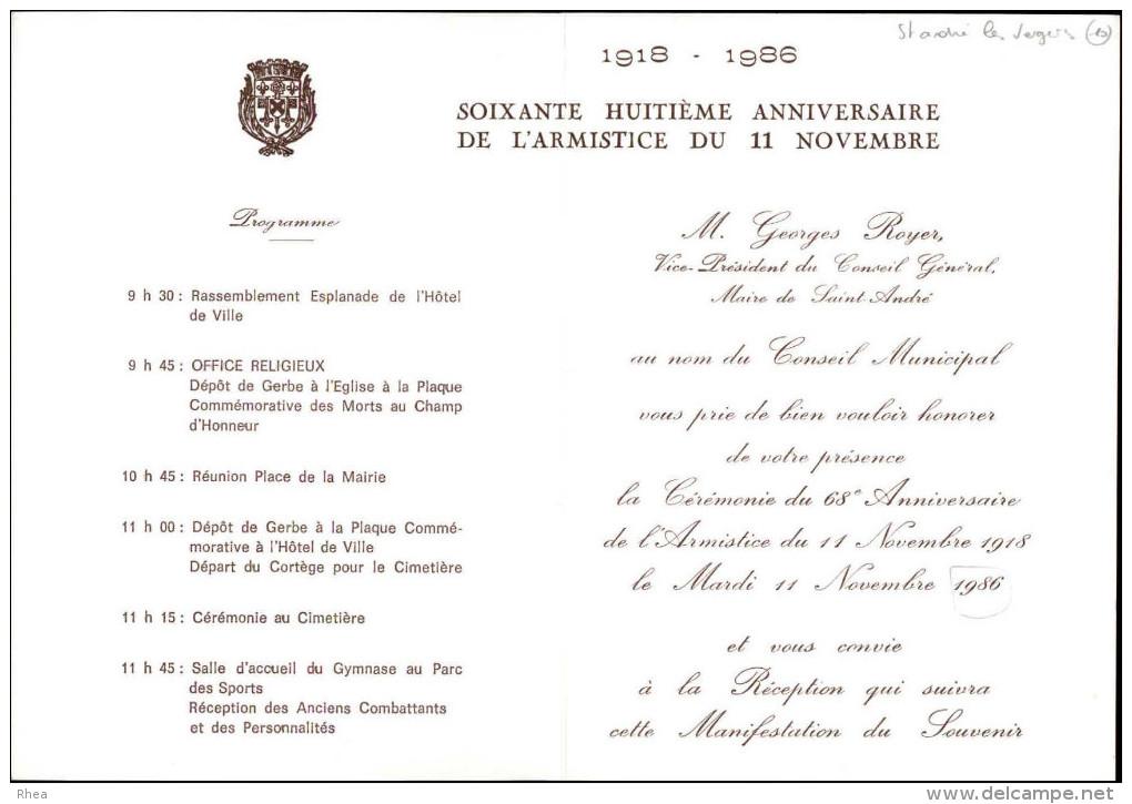 10 - SAINT-ANDRE-LES-VERGERS - Carton D´invitation 68 è Anniversaire De L´armistice 1986 - Non Classés