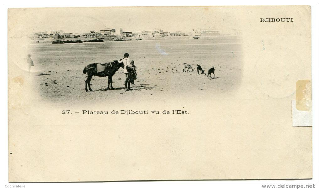 COTE FRANCAISE DES SOMALIS CARTE POSTALE DEPART DJIBOUTI 19 MARS 02 POUR ADEN - Côte Française Des Somalis (1894-1967)