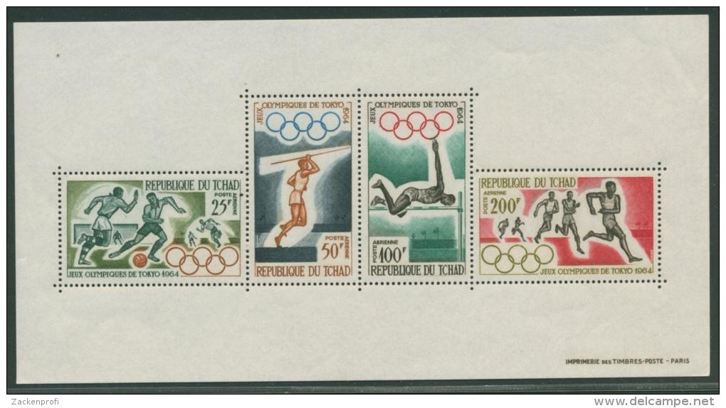 Tschad 1964 Olympiade Tokio Block 1 Postfrisch (G20655) - Chad (1960-...)
