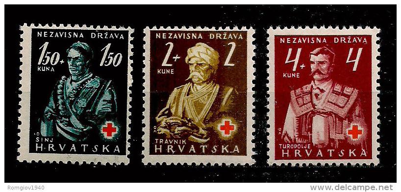 CROAZIA 1941 CROCE ROSSA YVERT 46-48 MLH XF - Croazia