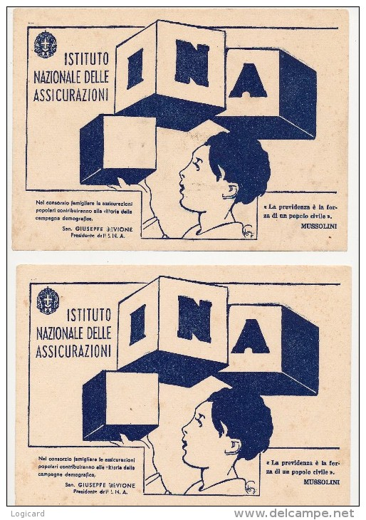 CARTA ASSORBENTE I.N.A. ISTITUTO NAZIONALE DELLE ASSICURAZIONI MUSSOLINI X 2 - Banca & Assicurazione