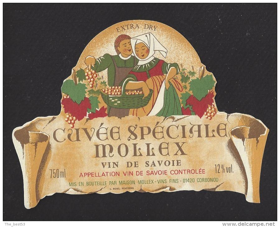 Etiquette De Vin  De Savoie  750 Ml - Cuvée Spéciale Mollex  - Thème Couple  - Maison Mollex à Corbonod (01)  -Années 60 - Couples