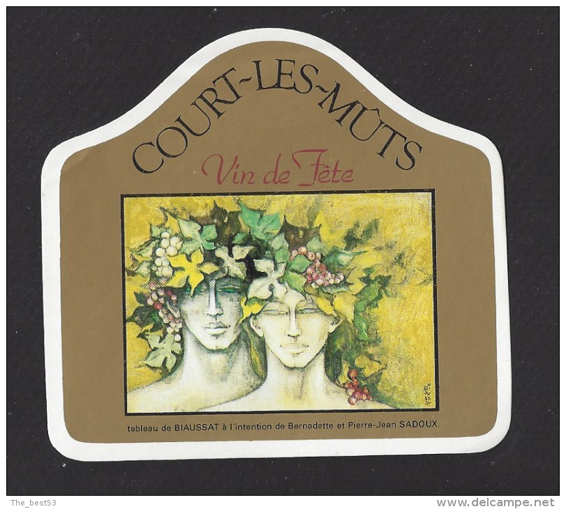 Etiquette De Vin De Fête   -  Court Les Mûts  - Thème Couple  -  Tableau De Biaussat à L'intention De B. Et P. J. Sadoux - Couples