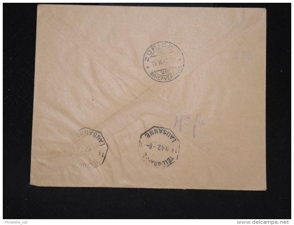 """FINLANDE - Env. En Express Et Par Avion ( étiquettes) Pour La Suisse En 1942 - Cad """"Télégraphe Lausanne"""" - Lot P 9982 - Covers & Documents"""