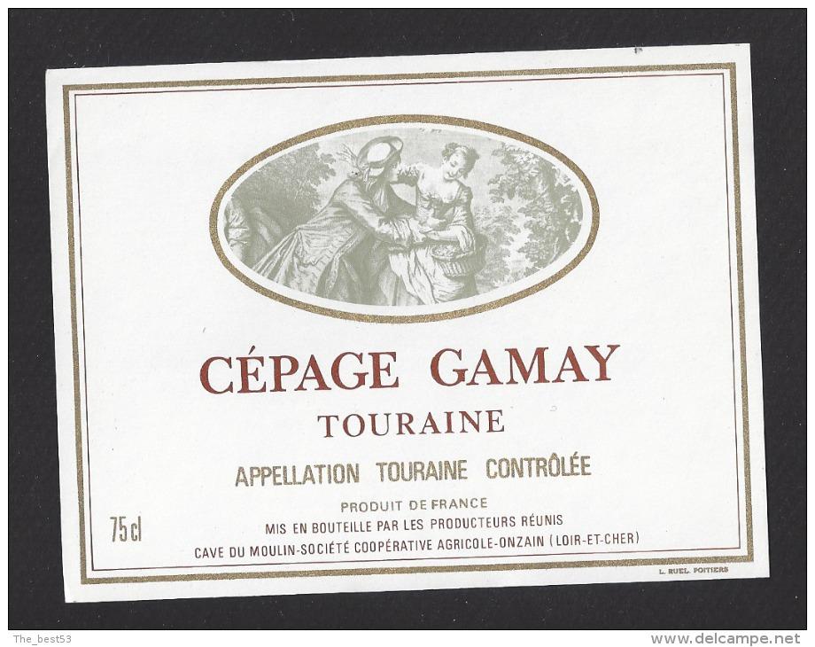 Etiquette De Vin Touraine Cépage Gamay    - Thème Couple -  Cave Du Moulin à Onzain  (41) - Couples