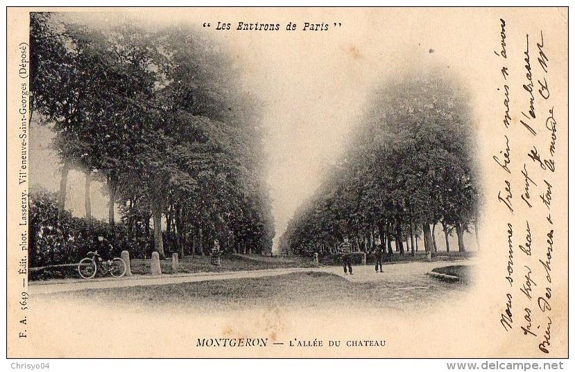 59Bg   91 Montgeron L´allée Du Chateau Cycliste DND (vue Pas Courante) - Montgeron