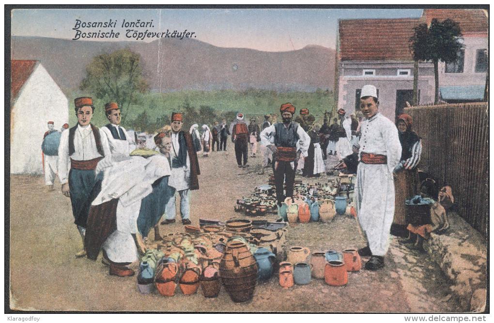 Bosnia Selling Pottery Old Postcard Travelled 1919 K.u.k. Bosnien To Zagreb Bb150925 - Europe