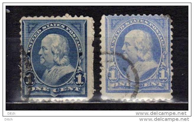 MT6-USA- YV N° 97+97a @OBL-USED@ 1c Bleu Et Outremer, Franklin - 1847-99 Emissions Générales
