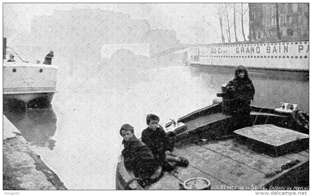 Cpa Enfants De Mariniers Sur La Péniche, éts Grand Bain Paris à 30cts, Brouillard (47.92) - La Seine Et Ses Bords
