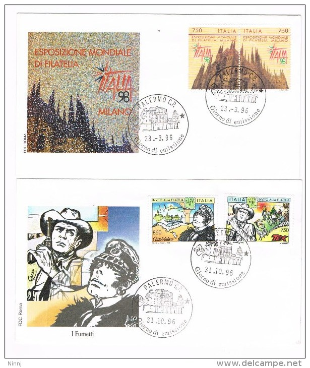 170- FDC Roma Esposizione Mondiale Di Filatelia + I Fumetti 2 Buste 1° GG. Emissione 23.3.96/31.10.96 - 6. 1946-.. Republic