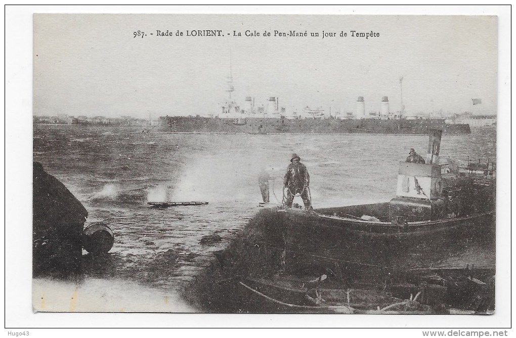 LORIENT - N° 987 - RADE DE LORIENT - LA CALE DE PEN MANE UN JOUR DE TEMPETE - CPA VOYAGEE - PETIT PLI ANGLE BAS A DROITE - Lorient