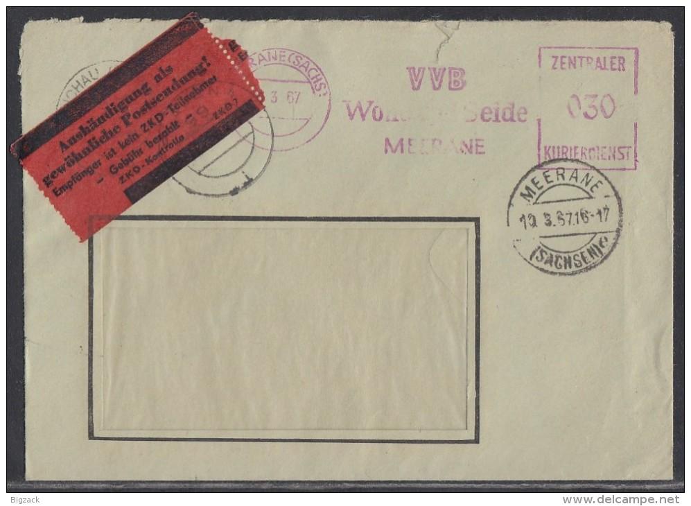 ZKD Brief Meerane10.3.67 Mit Rotem Zettel Empfänger Ist Kein ZKD Mitglied - DDR
