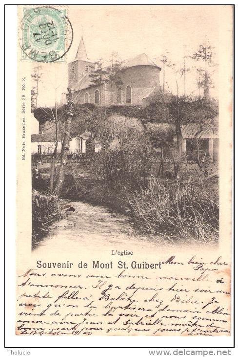 Souvenir De Mont-Saint-Guibert-1900-L'Eglise Et La Petite Rivière L'Orne à L'avant Plan-Edit. NEls - Mont-Saint-Guibert