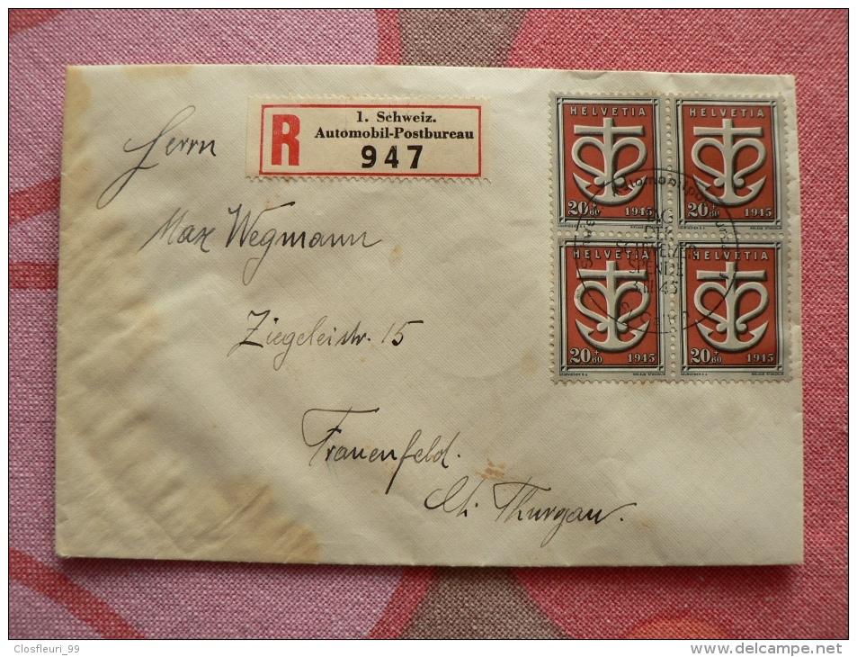 Deux (2) Lettres Tag Der Schweizer Spende 3.III.1945 Avec Blocs De Quatre / Rares, 1 Recommandée - Switzerland