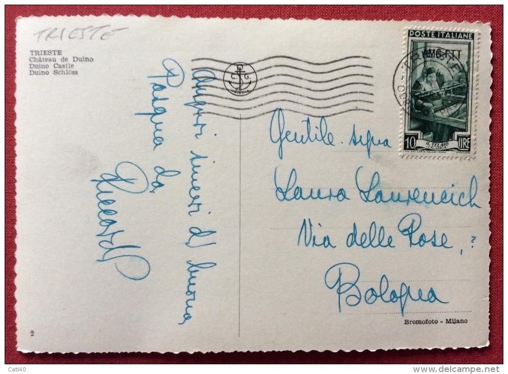TRIESTE  AMG FTT ITALIA AL LAVORO L. 10  SU CARTOLINA PER BOLOGNA - 1952 - Storia Postale