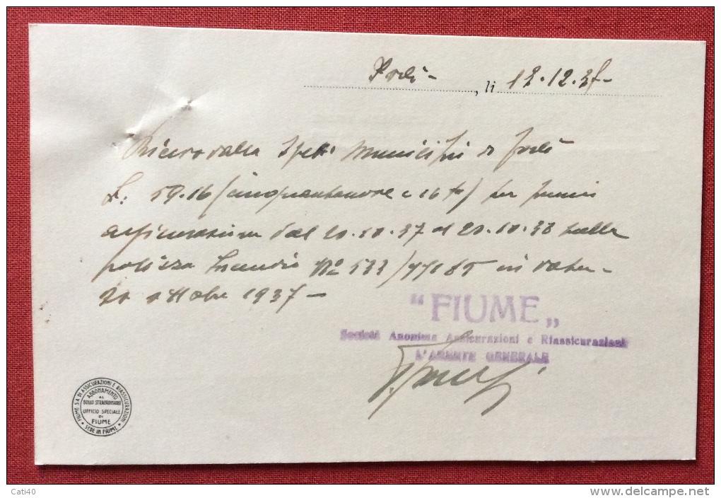 FIUME SOC.ANONIMA ASSICURAZIONI - CARTOLINA PUBBLICITARIA  1937 - Storia Postale