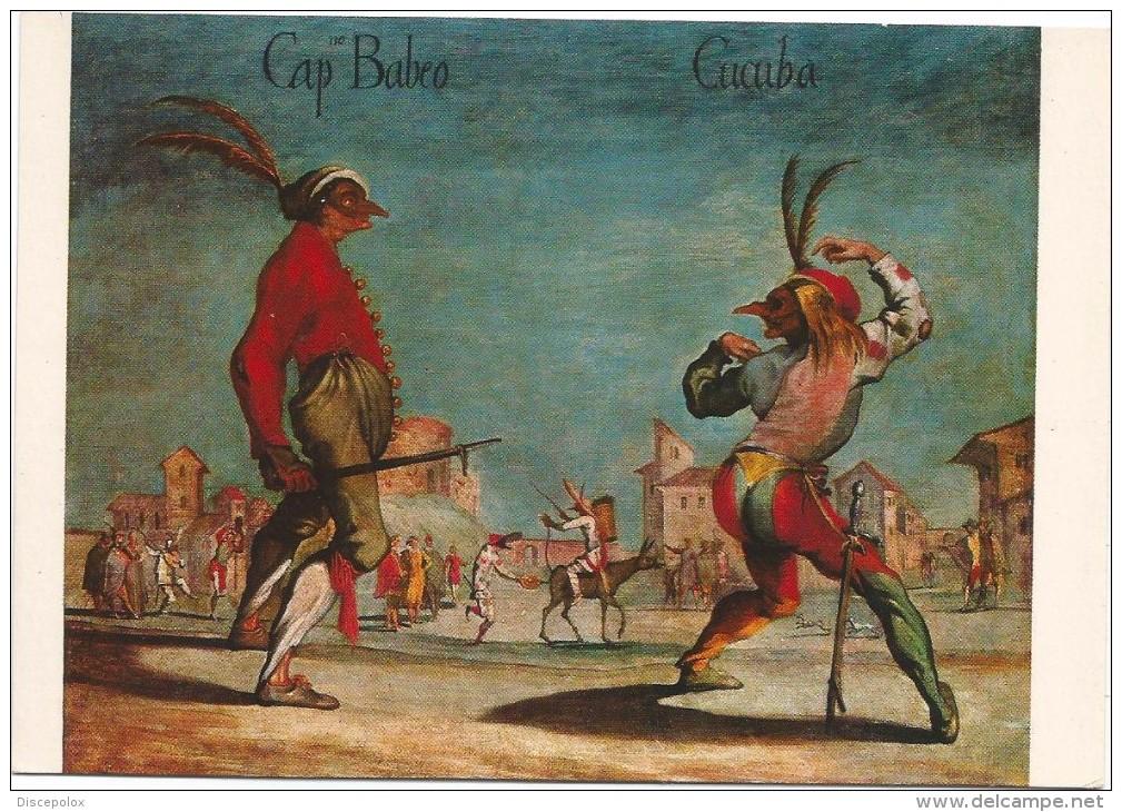 F3035 Capitan Babeo E Cucuba - Maschere Della Commedia Dell'Arte - Dipinto Paint Peinture / Non Viaggiata - Europe
