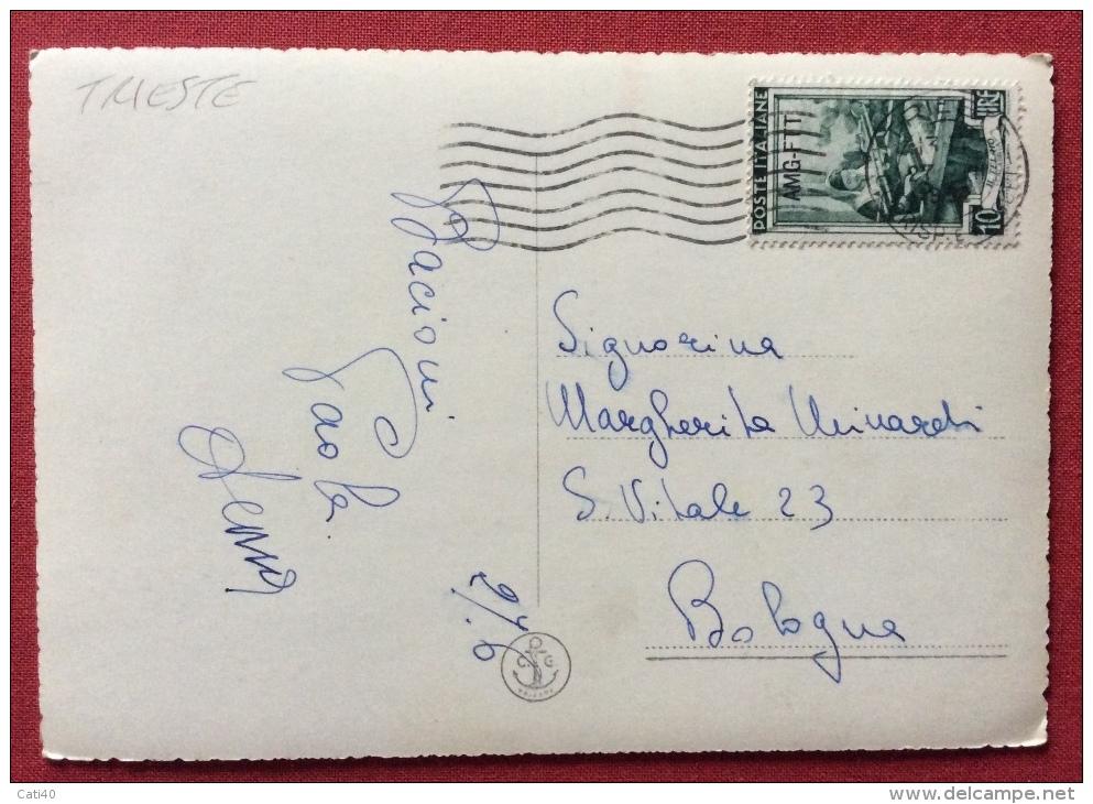 TRIESTE AMG FTT L. 10 LAVORO  SU CARTOLINA PER BOLOGNA - 1952 - Storia Postale