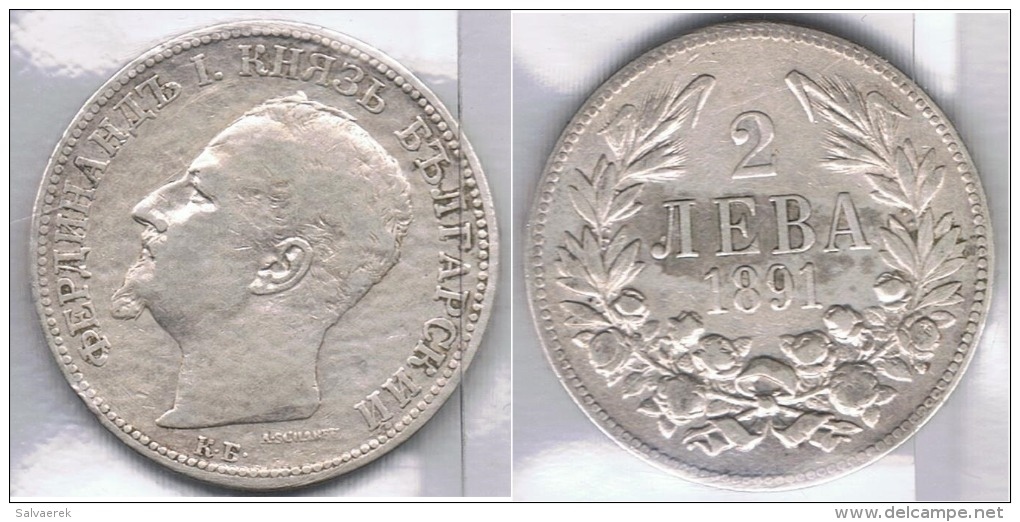 BULGARIA 2 LEBA 1891 PLATA SILVER Za2 - Bulgaria