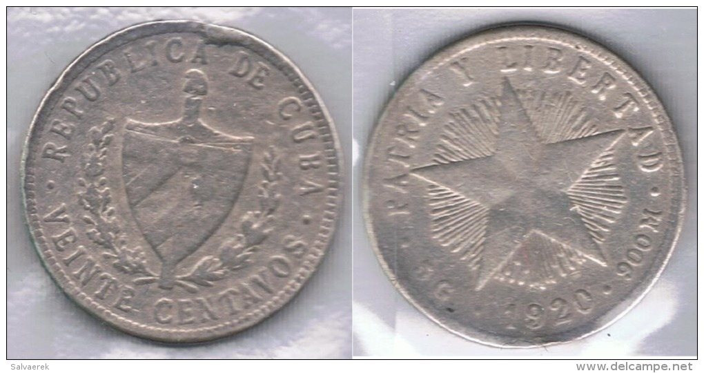 CUBA 20 CENTAVOS PESO 1920 PLATA SILVER Za - Cuba