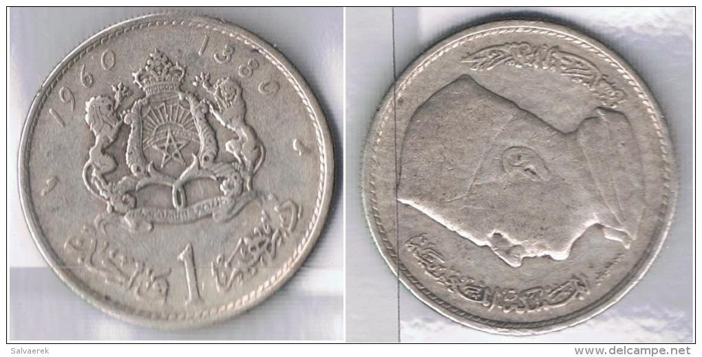 MARRUECOS 1 DIRHAM 1960 PLATA SILVER Za - Marruecos