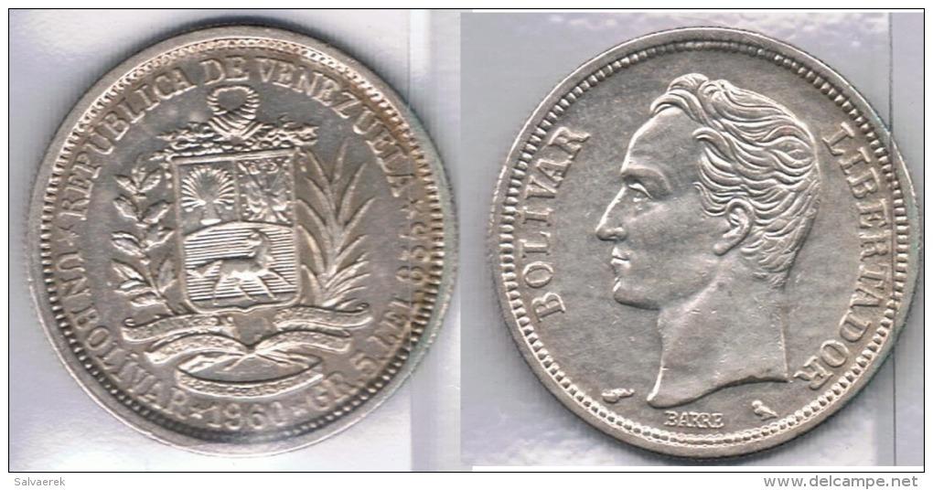 VENEZUELA BOLIVAR 1960 PLATA SILVER Za - Turquia