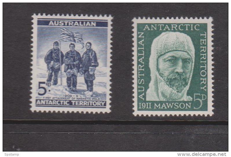 Australian Antarctic Territory 1961 5d Blue Explorers & 5d Green Mawson MNH - Territorio Antartico Australiano (AAT)