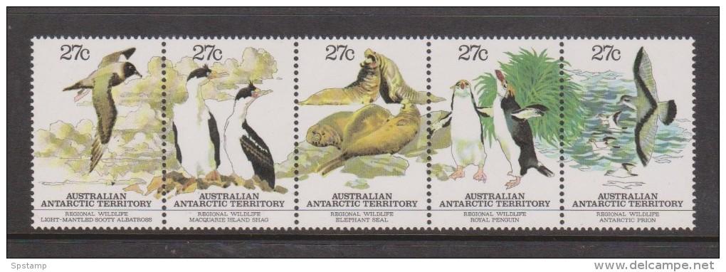 Australian Antarctic Territory 1983 Wildlife Strip Of 5 MNH Bird Seal Penguin - Territorio Antartico Australiano (AAT)