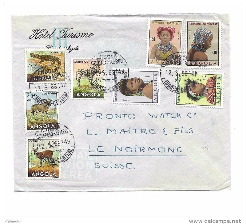 ANGOLA REPUBLICA PORTUGUESA 1966 Crocodile, Zèbres, Coiffures, Ethnique, Lettre Hôtel Pour La Suisse - Angola