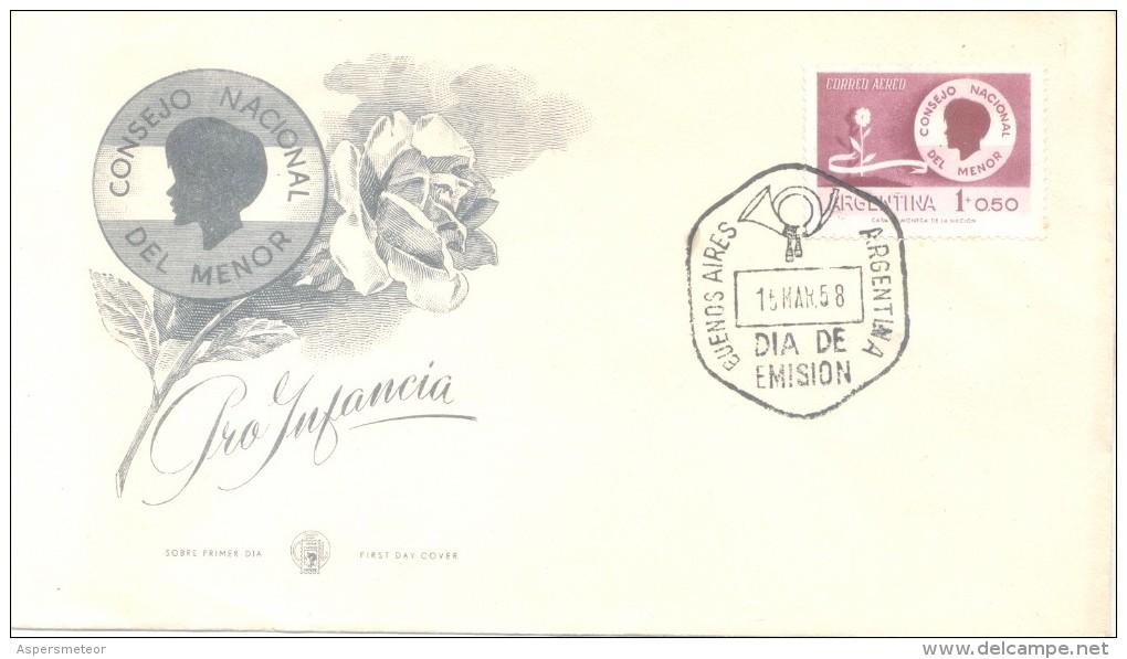 PRO INFANCIA AÑO 1958 CONSEJO NACIONAL DEL MENOR SOBRE PRIMER DIA DE EMISION REPUBLICA ARGENTINA - Ohne Zuordnung
